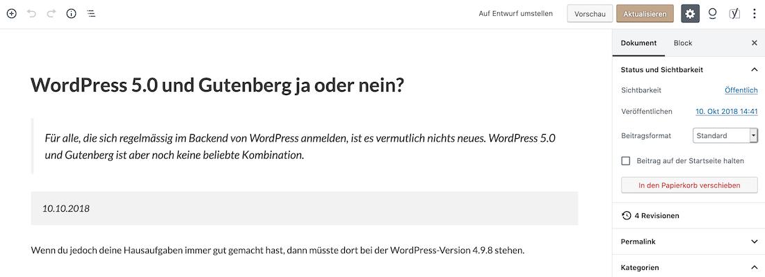 WordPress 5.0 und Gutenberg