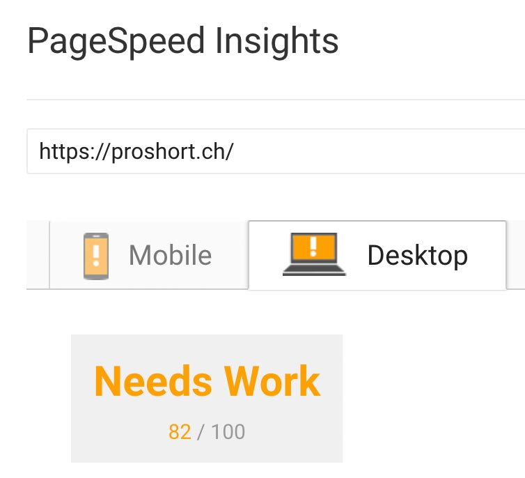 Pro Short Desktop Page Speed nachher