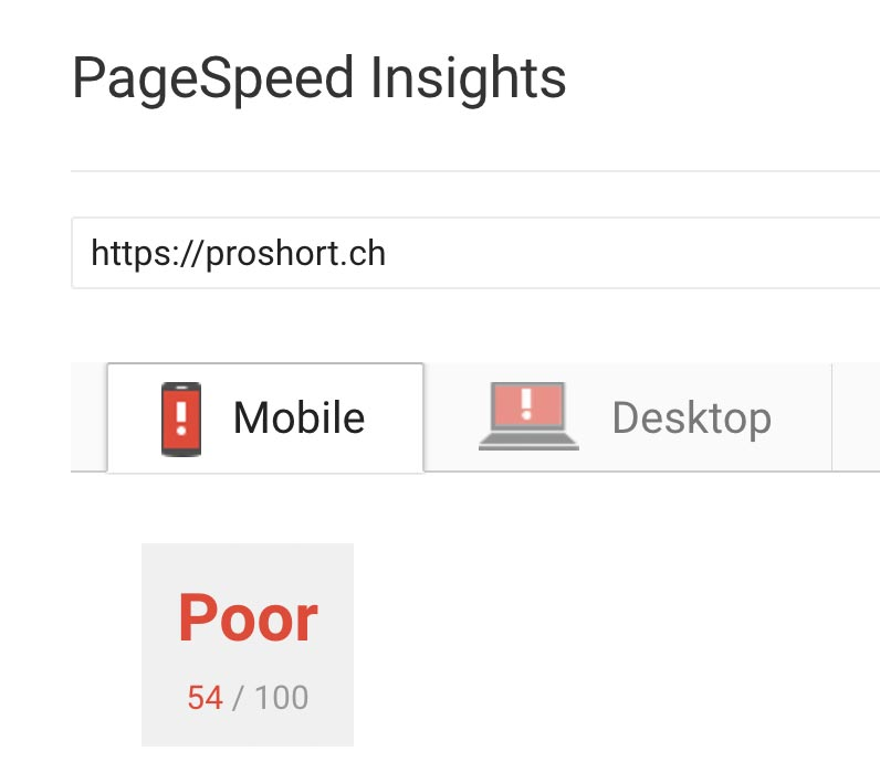 Pro Short Mobile Page Speed vorher