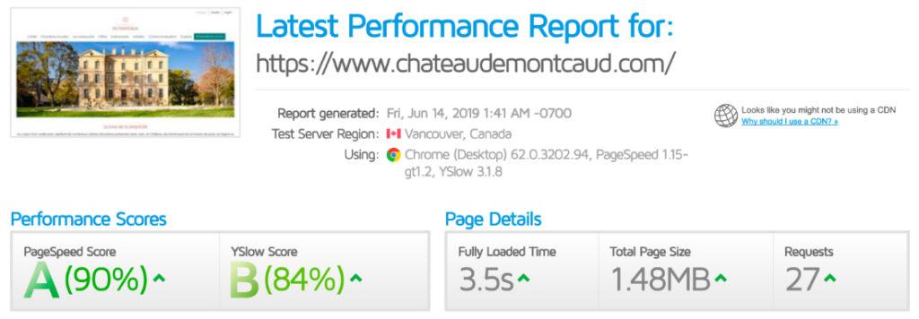 GTmetrix Ergebnisse
