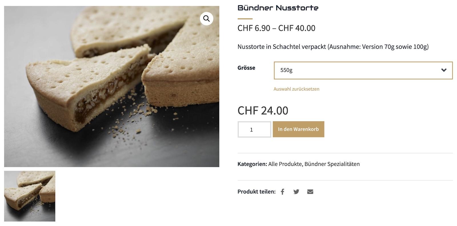 Webshop WooCommerce Produktansicht