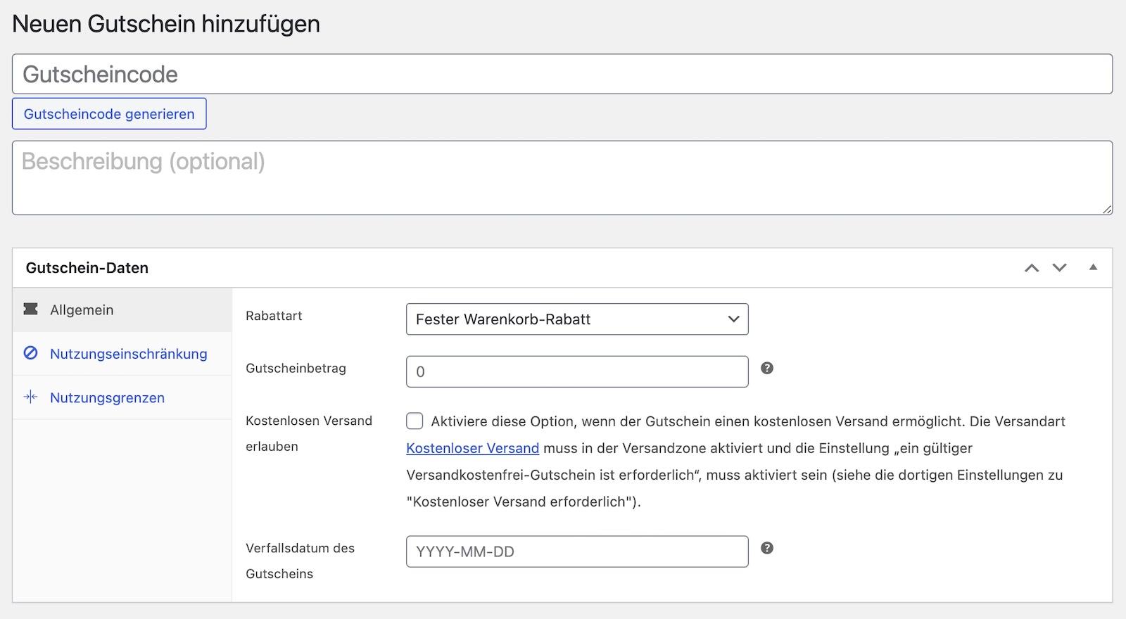 Webshop Gutschein erstellen
